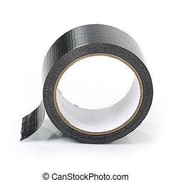 Black adhesive tape isolated on white background