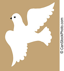dove silhouette on brown background