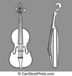 violin silhouette on gray background