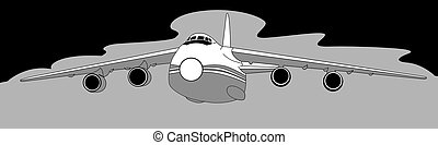 plane silhouette on gray  background