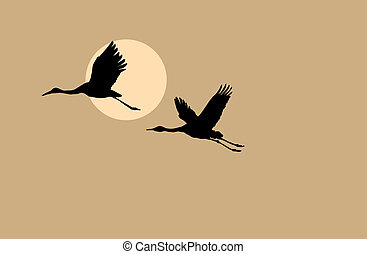crane silhouette on solar background