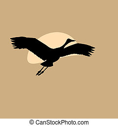 crane in sky on solar background,