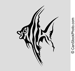 fish silhouette on gray background