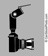 camera silhouette on gray  background,