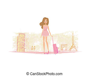 beauty travel girl with baggage in Italy and Paris
