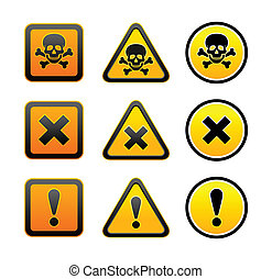 Hazard warning symbols, set