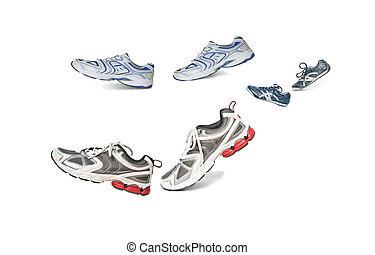 Walking pairs of sneakers