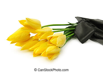 bouquet of yellow flowers for a funeral isolated on a white...