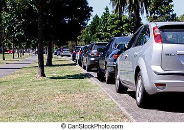 fila, estacionado, carros, kerbside, parque