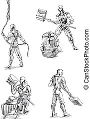 Executioner Sketches - Old-Time Executioner Sketches. Set of...
