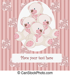 Beautiful card with bears - Pink bears on a striped, pink...