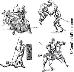 Ancient Gladiator Sketches - Ancient Roman Gladiators Set of...