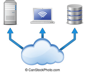 Cloud computing network - Cloud Computing Concept. Server,...
