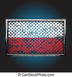 Vector flag on old metal - flag on old metal made in vector