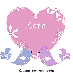 Two enamoured birdies on pink heart