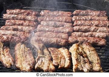 Close up of smoking BBQ