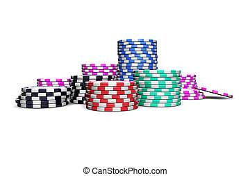 Poker Chips - Poker chips isolated on white background. For...