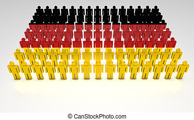 German Parade - Parade of 3d people forming a top view of...