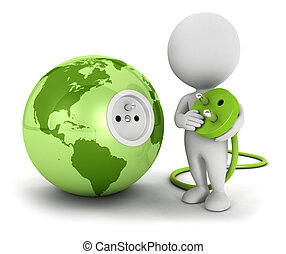3d white people connects plug inside green earth, isolated...