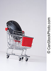 E-shop concept - E-shop (e-commerce) concept - shopping cart...