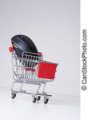 E-shop concept - E-shop (e-commerce) concept - shopping cart...