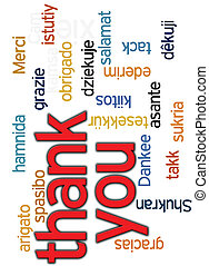 thank you word cloud - thank you in many different languages...