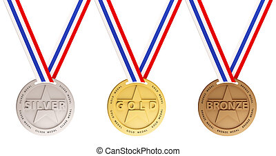 Gold, Silver and Bronze medals - Three medals, Gold, Silver...