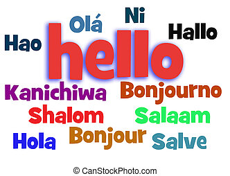 hello word cloud - hello in different languages word cloud