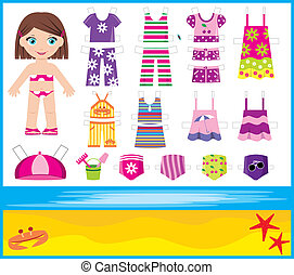 Paper doll with summer set of cloth - Vector illustration,...