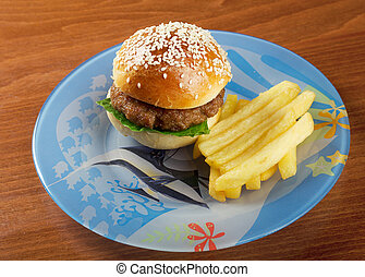 Hamburger with french fries.nursery setting