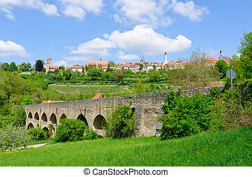 Rothenburg ob der Tauber, Germany - The Double bridge and...