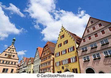 Rothenburg ob der Tauber, Germany - Market square Marktplatz...