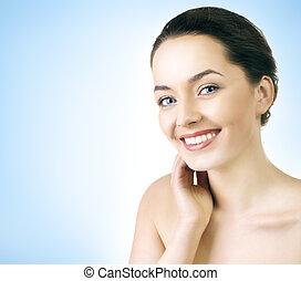 Close up portrait of a beautiful model - Close up portrait...