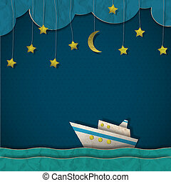 Paper cruise liner at night Creative vector eps 10