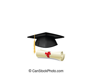 Mortarboard and diploma - Black graduation cap, mortarboard...