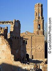 village demolished Belchite - Tower in Belchite, Belchite...