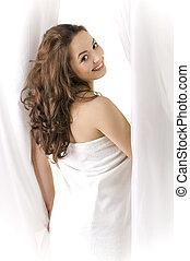 beautiful girl in a towel