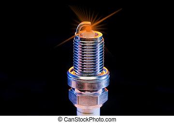 spark plug on black