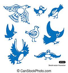 Birds set - Hand drawn birds set isolated on white...