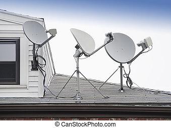 sattelite TV antenna - Satellite TV antenna on roof