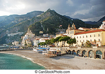 Amalfi coastview - View of the golden beach of Amalfi with...