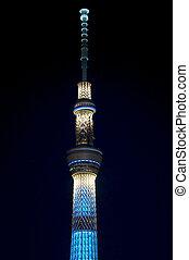 Tokyo skytree at night - Tokyo skytree closeup at night with...