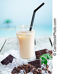 Cafe mocha chilled through a straw - Chilled cafe mocha on...