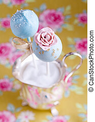 Flower Cake Pop - High angle Rose Flower Cake Pop with...