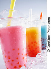 Assorted Drinks - Assorted Bubble Tea Drinks on crushed ice...