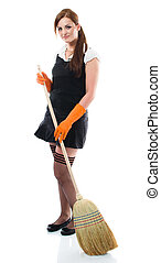 Young sexy woman sweeping the floor - isolated on white...