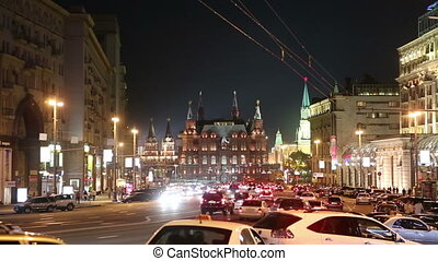 Moscow at night - Moscow, Tverskaya street. view on the...