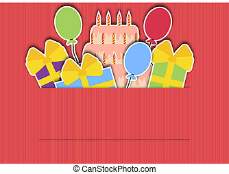 background with presents and cake