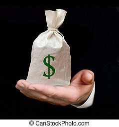 Hand with bag of dollars
