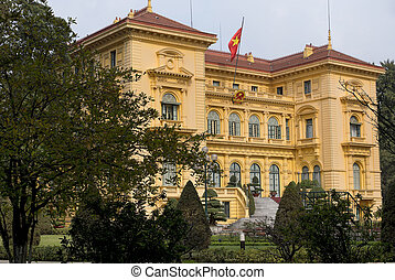 Presidential Palace in garden - Mansion in amber colored...